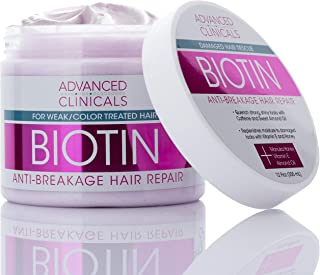 Advanced Clinicals Biotin Anti-Breakage Hair Repair Mask. Strengthen Broken, Color-Treated Hair with Repairing Deep Conditioner Manuka Honey & Caffeine. Hydrating Mask Restores Weak Hair (12 Oz)