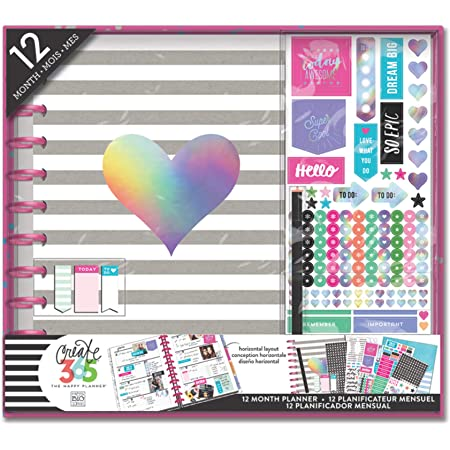 me & my BIG ideas The Happy Planner Box Kit - Rainbow Foil Theme - 12 Month Undated - Horizontal Layout - 3 Sheets of Stickers, 1 Pen, 1 Pocket Folder, Sticky Note Pads - Big Size