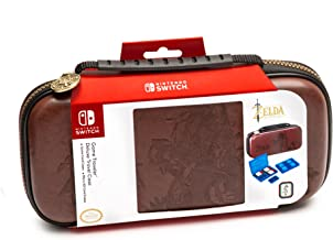 Nintendo Switch Zelda Breath of The Wild Carrying Case – Protective Deluxe Travel Case – Koskin Leather with Embossed Zelda Breath of The Wild Art – Official Nintendo Licensed Product