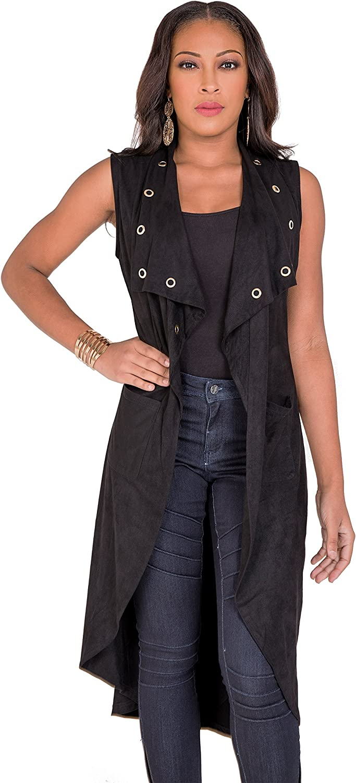 Poetic Justice Curvy Women's Suede Sleeveless Grommet Lapels Duster Coat