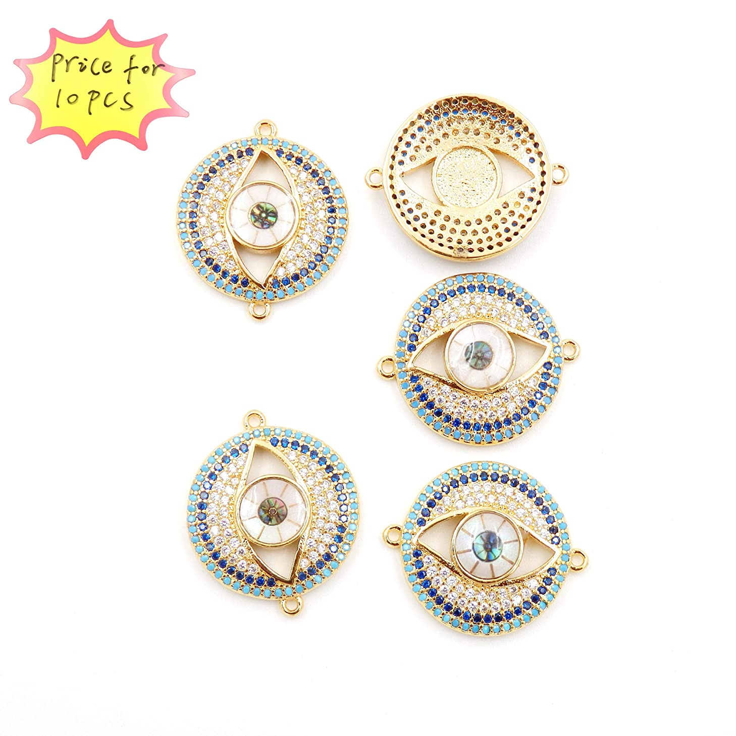 Charms for Jewelry Making, Connector for Bracelet, Sold per Bag 10pcs Inside (Gold Evil Eyes 20mm)