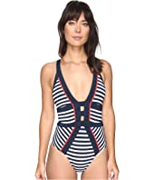 JETS by Jessika Allen - Panama Banded Halter One-Piece