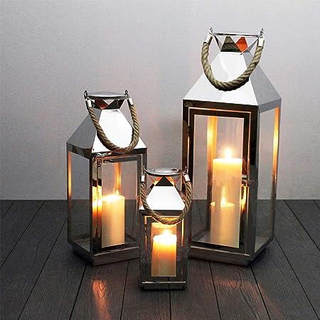 LED Lichterkette LED Kerzen 3tlg Luxus Edelstahl Gartenlaternen Windlicht