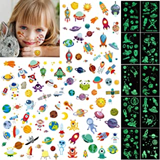 PHOGARY 20 Sheets Temporary Tattoos Glow in The Dark for Kids (Luminous and Colorful) Tattoo Sticker(Outer Space UFO Theme) Fake Waterproof Tattoos for Boys Girls