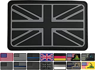 3.15x1.97 inch United Kingdom Flag Patch Gray Britain Patch UK Patches PVC Rubber Patch 3D Pride Moral Patch Clothes Patch Backside Tactical Patches Patch for Military Uniform, Tactical Bag, Jacket