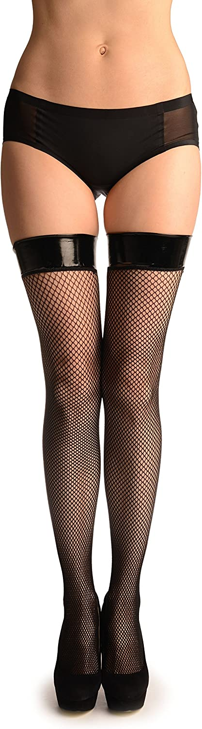 Black Fishnet With Vinyl Stay Up Garter - Tight High (Hold Ups)