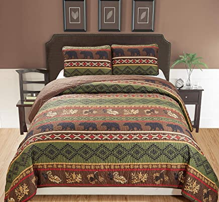 Rustic Western Southwestern Brown Quilt Set With Native American Designs Grizzly Bears and Pinecone Prints Full / Queen Bedspread 3 Piece Bear Full / Queen