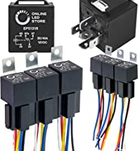 Best ONLINE LED STORE 6 Pack Bosch Style 5-Pin 12V Relay Kit [Interlocking Harness Socket Holder] [14 AWG Hot Wires] [SPDT] [30/40 Amp] 12 Volt Automotive Relays for Auto Fan Cars Review