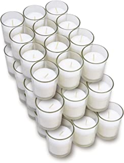 Harmonic Blossom Glass Votives 36 Pack - Premium White Unscented Votive Candles in Clear Elegant Holders - 15 Hour Long Lasting Burn Time - For Weddings, Parties and Event Decoration Centerpieces