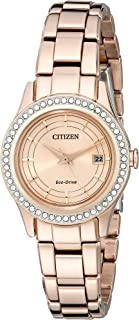 Women's Eco-Drive Silhouette Crystal Rose Gold-Tone Watch with Date, FE1123-51Q