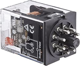 Omron MKS2P AC24 General Purpose Relay with Mechandical Indicator, Basic Model Type, Plug-In Terminal, Standard Internal Connections, Double Pole Double Throw Contacts, 110 mA at 50 and 96.3 mA at 60 Hz Rated Load Current, 24 VAC Rated Load Voltage
