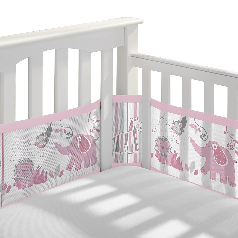 BreathableBaby Classic Breathable Mesh Crib Liner - Safari Fun Girl