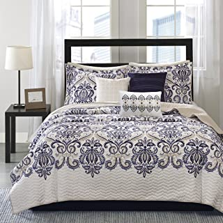 Madison Park Cali 6 Piece Quilted Coverlet Set, Full/Queen Size, Blue