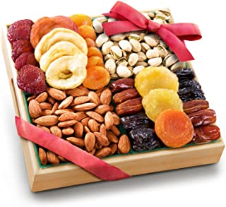 Pacific Coast Classic Dried Fruit Tray Gift with Almonds and Pistachios for Holiday Birthday Healthy Snack Business Gourme...