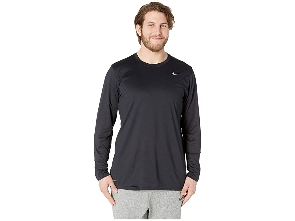 Nike Big Tall Dry Tee Long Sleeve Legend 2.0 (Black/Black/Matte Silver) Men