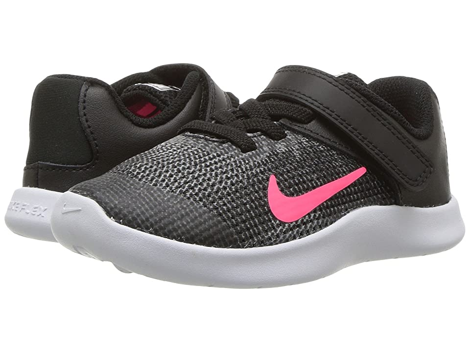 Nike Kids Flex Run 2018 (Infant/Toddler) (Black/Racer Pink/White) Girls Shoes