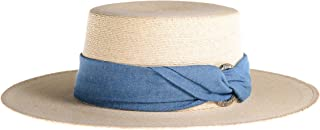 Women's Palm Leaf Boater Hat, Denim Cotton Band, Sun Protection