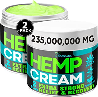 (2 Pack) Hemp Cream for Joint, Back, Knees, Neck, Elbows - Made in The USA - High Strength Hemp Oil Extract with Msm, Arni...
