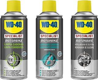 WD-40 Motorbike – Lote cuidado y mantenimiento de la cadena y brillo del carenado con Spray Limpiacadenas 400Ml + Lubricante de Cadenas 400Ml + Abrillantador de Silicona 400Ml - Pack 3 unidades