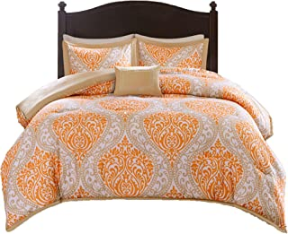 Comfort Spaces Coco 4 Piece Comforter Set Ultra Soft Printed Damask Pattern Hypoallergenic Bedding, Queen, Orange-Taupe