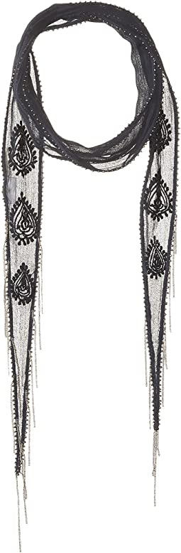 Chan Luu - Paisley Amulet Embroidered Long Skinny Scarf