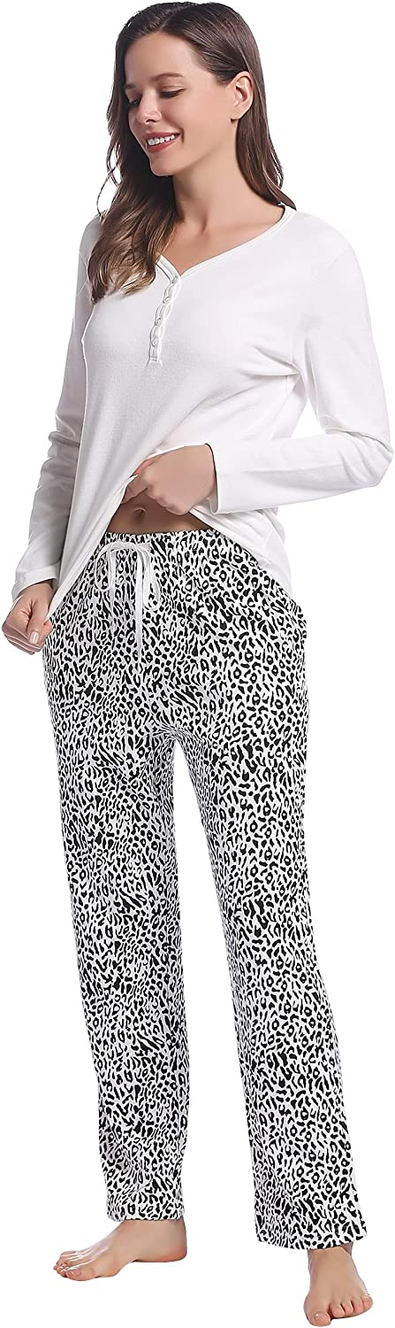 Womens Soft Cotton Pajama/Pj Sets - Long Sleeve Henley Top and Pattern Pant