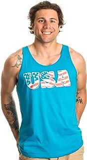 Ann Arbor T-shirt Co. Neon USA Flag | Radical 80s American Beach Party Merica Tank Top