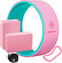 Overmont 5-in-1 Set, 1 Yoga Wheel for Back Pain- 13x 5in, 2 EVA Foam Yoga Blocks with Strap, 1 Extend Ring Premium Back Ro...