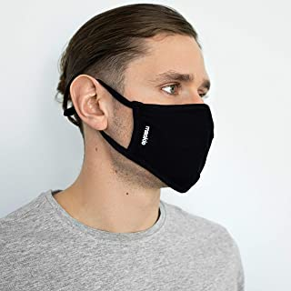 Cotton Premium Quality Washable Face Mask 'Plus' Reusable Breathable Cloth Face Covering with Adjustable Ear Loops - Comfo...