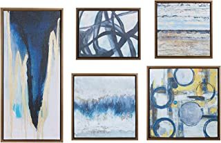 Madison Park Wall Deco Bronze Blue Bliss Galary 5-Piece Set, Canvas in Decor Boxes, Abstract...