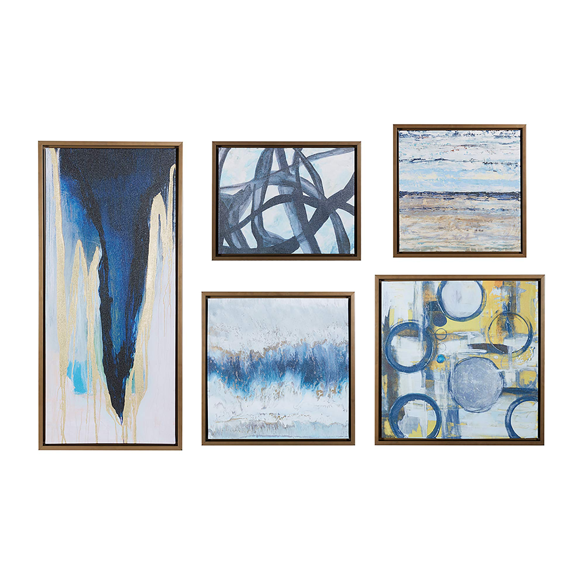 Amazon Com Madison Park Wall Deco Bronze Blue Bliss Galary 5 Piece Set Canvas In Decor Boxes Abstract Style Framed Art Natural Posters Prints