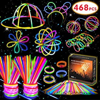 Kimimara 200 Barras Luminosas , Pack con 200 Piezas para Fiestas, Varillas Luminosas con 268 Conectores para Pulseras y Collares, Juguetes de Iluminación para Niños (Colores Variados)