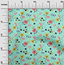 oneOone Velvet Mint Green Fabric Leaves & Flowers Floral Craft Projects Decor Fabric Printed by The Yard 58 Inch Wide