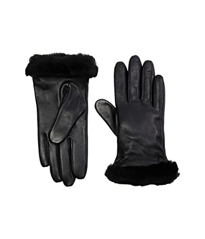 UGG Classic Leather Shorty Tech Gloves (Black) Extreme Cold Weather Gloves