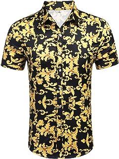 Mens Short Sleeve Fashion Luxury Design Print Dress Shirt
