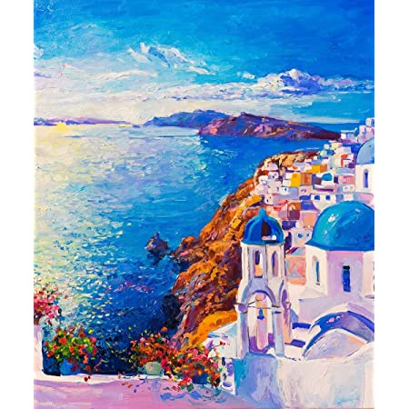 "Paint by Numbers for Adults by BANLANA, DIY Adult Paint by Number Kits for Beginners on Canvas Rolled 16"" by 20"" (Santorini)"