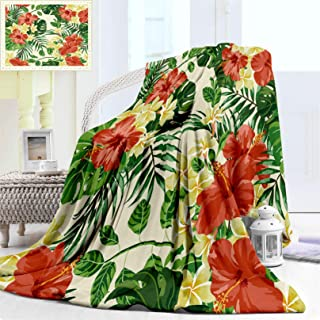 """Nalagoo Baby Blanket for Little Boy and Girl, Exotic Pattern Lovely with Plumeria Hibiscus Plush Monstera Palm Flowers and Leaves Soft Warm Flannel for Toddler or Newborn, Baby Blanket 40"""" x 30"""""""
