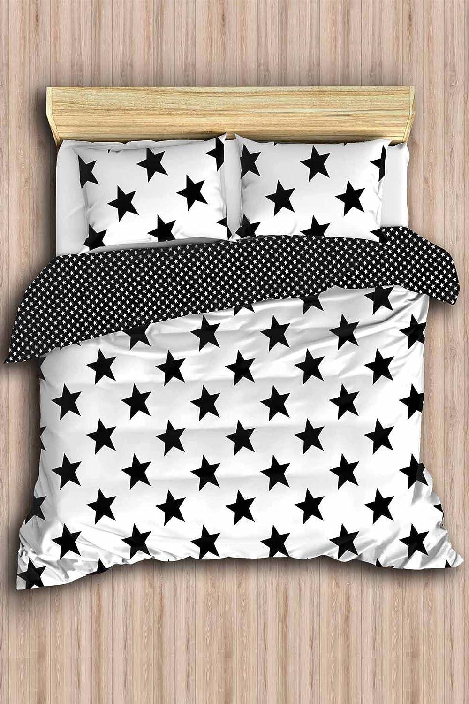 Stars Bedding Set Full Queen Size Quilt Duvet Cover Set Black And White Girls Boys Bed Set Reversible Comforter Included 5 Pcs Kitchen Dining