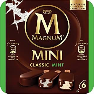 Magnum Mini Classic and Mint Multipack Ice Cream Stick - Frozen, 55ml (Pack of 6)