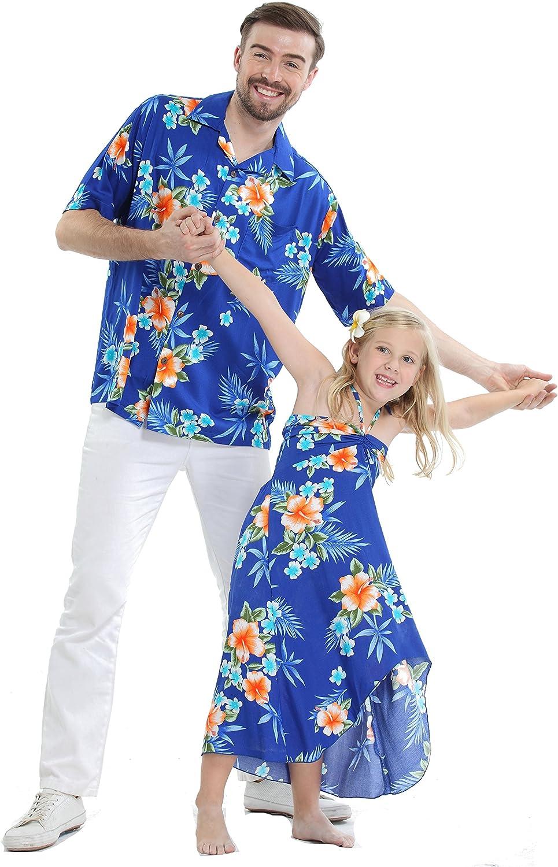 Matching Father Daughter Hawaiian Luau Cruise Outfit Shirt Dress Hibiscus Blue