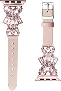 Secbolt Band Compatible with Apple Watch Band 38mm 40mm iWatch Series 5/4/3/2/1, Top Grain Leather with Bling Crystal Diamonds Wristband Strap Accessories Women, Pink Small