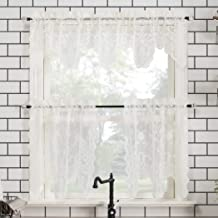 """No. 918 Alison Floral Lace Sheer Rod Pocket Kitchen Curtain Valance and Tiers Set, 58"""" x 36"""" 3-Piece, Ivory"""