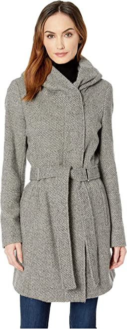 Double Face Wool Coat with Oversized Hood and Belt Closure