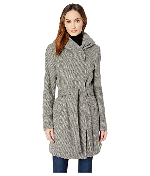 29401d0fdc2e0 Calvin Klein Double Face Wool Coat with Oversized Hood and Belt Closure
