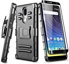 Coolpad Legacy Case (MetroPCS - 6.4 inch) with Tempered Glass Screen Protector (Full Coverage), NageBee Belt Clip Holster Defender Heavy Duty Shockproof Kickstand Armor Combo Rugged Case -Black