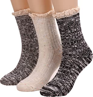 3 Pairs Women Winter Wool Cable Knit Crew Knee High Boot Socks,Size 5-11 W605