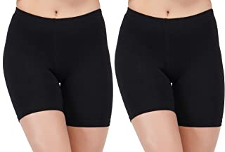 AJ FASHIONS Spandex Soft Cotton Lycra Cycling Black Shorts for Girls/Women/Ladies - Pack of 2