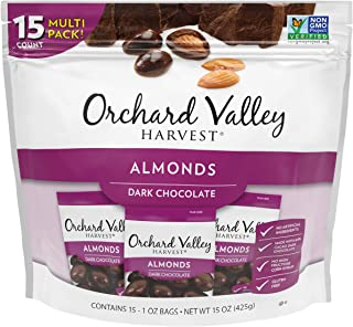 ORCHARD VALLEY HARVEST Dark Chocolate Almonds, 1 oz (Pack of 15), Non-GMO, No Artificial Ingredients