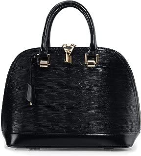 Hoxis Classical Wood Grain Embossed Faux Leather Zipper Shell Shoulder Handbag