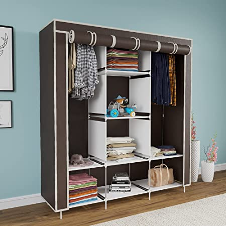 GTC® 6+2 Layer Collapsible Wardrobe for Clothes 88130 (Without Pocket, Brown).